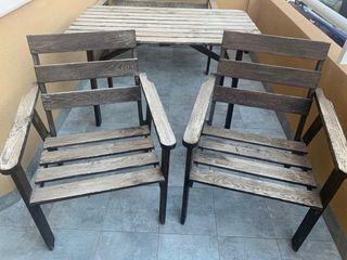Conjunto 4 piezas de jardín de madera.