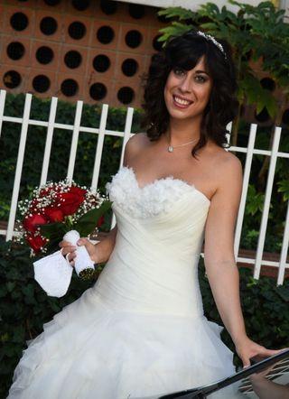 Vestido novia corto seda natural