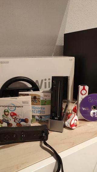 Wii negra + 3 juegos + volante + 2 mandos