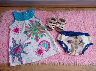 vestido Desigual, sandalias y cubre pañal