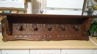 Perchero madera tallada antiguo