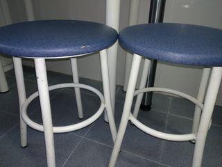 2 taburetes cocina bajos azules