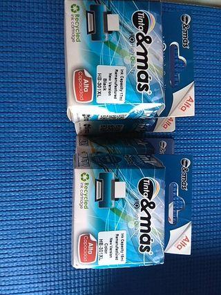 Cartuchos compatibles HP 301. 2 de color y 2 de ne