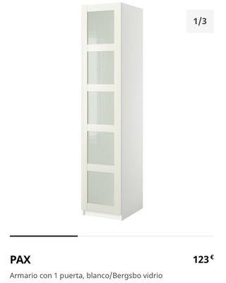 Armario 2m blanco puerta cristal -2 disponibles