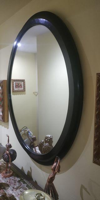Espejo marco caoba ovalado