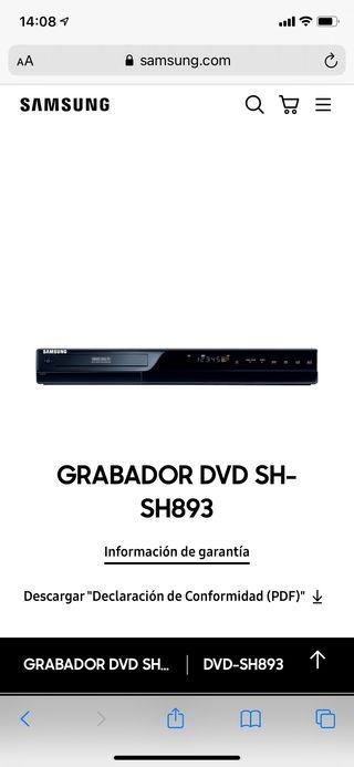 Reproductor grabador DVD SAMSUNG con disco duro
