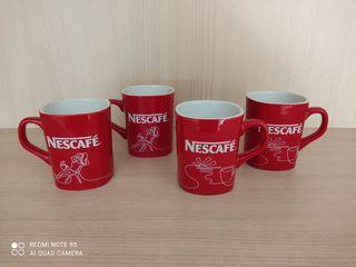 4 tazas rojas de Nescafé dibujo ambas caras