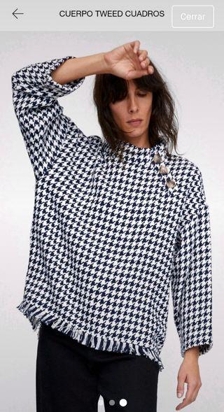 Jersey tweed pata de gallo Zara