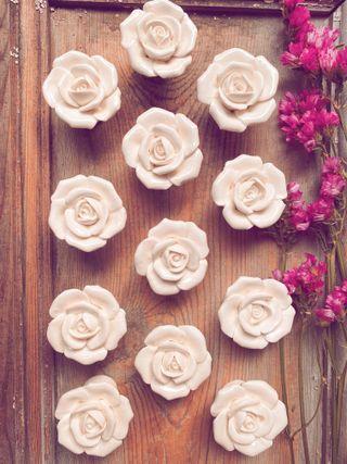 LOTE de 4 Tiradores Grandes Rosas ceramica