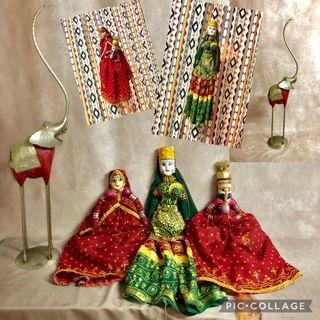 Lote 3 marionetas indias de madera más elefante