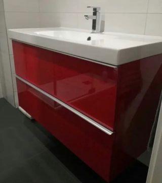 Mueble de baño ikea godmorgon rojo