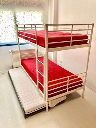 Litera Ikea, cama supletoria y colchones