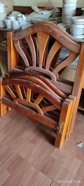 Litera de madera maciza o tres camas de 88 ctms.
