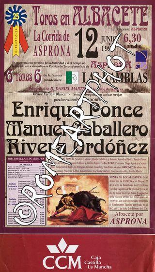 Cartel toros. Corrida Toros Albacete 12-06-1997