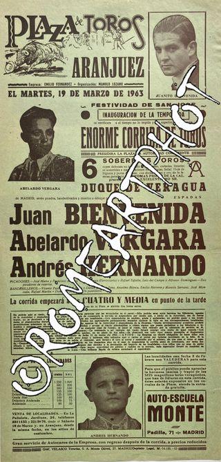 Cartel toros. Corrida Toros Aranjuez 19-03-1963