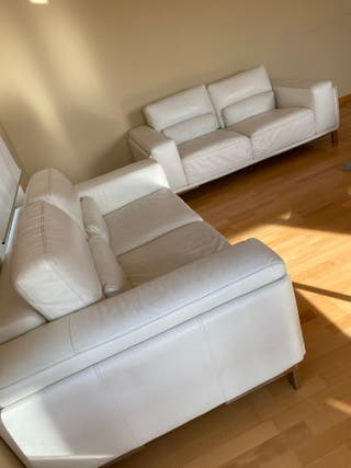 2 Sofa piel blanco