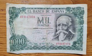 Billete de 1000 pesetas de 1971