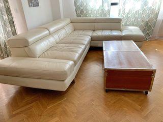 Sofa de piel color blanco