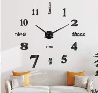 Reloj de Pared 3D, DIY Reloj de Etiqueta de Pared