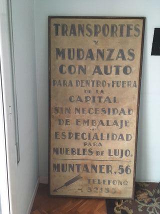 Cartel letrero antiguo pintado a mano de Barcelona