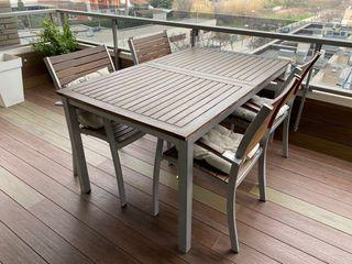 Conjunto mesa extensible y sillas de jardín