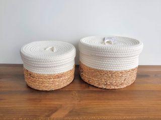 NUEVO - Set cestos con tapa algodón (30x30x20 cm)