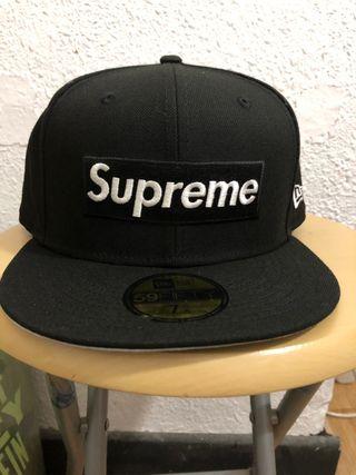 Supreme box logo new era 7 5/8 black negro