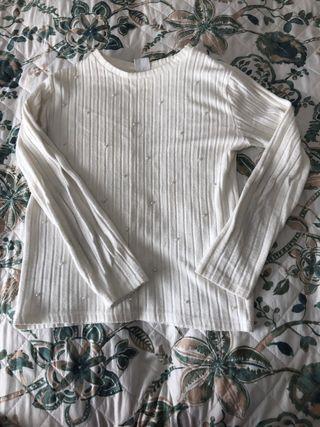 Camiseta de manga larga con perlas