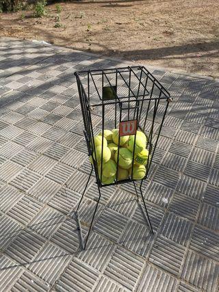 Cesto carrito de bolas para padel o tenis