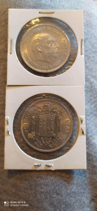 Monedas 5 pesetas 1949 franco .