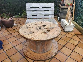 Bobina de madera para mesa de jardín
