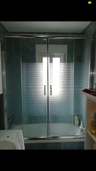 Mampara doble hoja aseo baño ducha