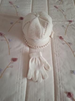 gorra y guantes de niña