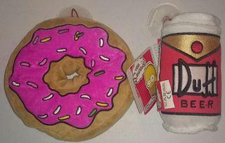 Los Simpson peluches 18 cm Beer Duff y Donut