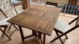 Conjunto mesa y sillas de jardín y terraza plegabl