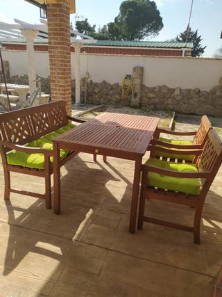mesa de jardín de teka