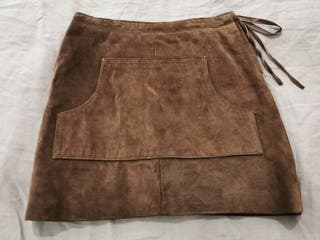 Falda piel marrón talla S