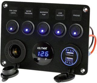 FANMURAN Panel de control de 5 interruptores LED R