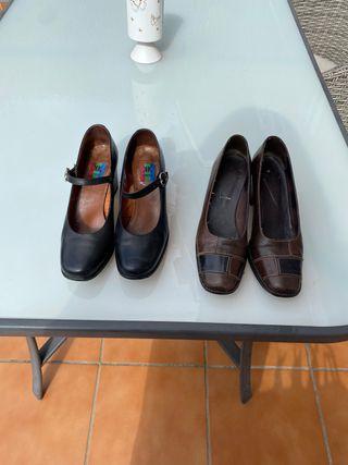 Zapatos piel tacón grueso