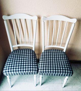 Pack de 2 sillas de cuadros de Vichy