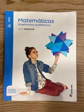 Libro Matemáticas académicas 4 ESO Santillana