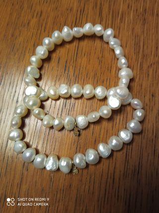 Pulseras perlas y osito de oro Tous