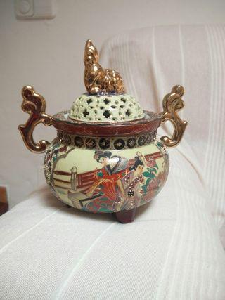 Jarrón chino de porcelana estilo Satsuma