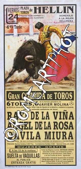 Cartel toros Hellin Corrida 24-10-1997