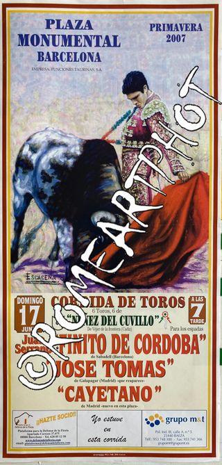 Cartel toros. Corrida Toros Barcelona 17-06-2007