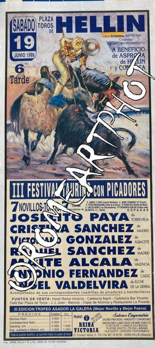 Cartel toros. Hellin Festival 19-06-1999