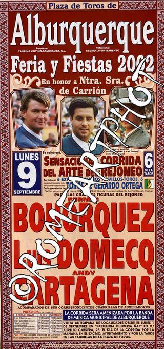 Cartel toros Alburquerque Rejones 09-09-2002