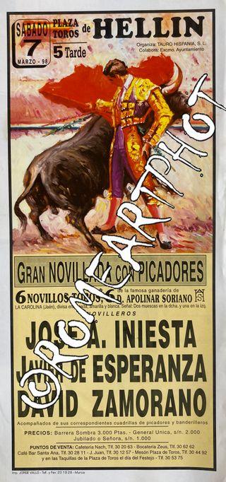 Cartel toros Hellín Novillada 07-03-1998