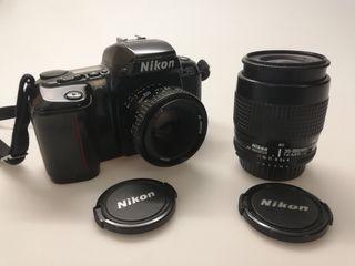 Cámara Nikon reflex analógica + objetivos