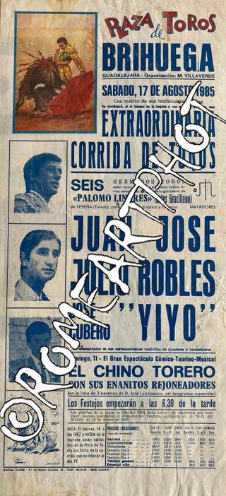 Cartel toros. Corrida Toros Brihuega 17-08-1985